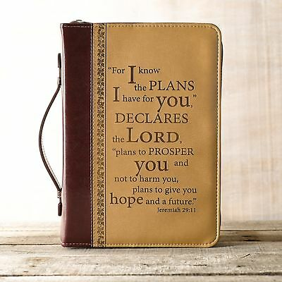I Know the Plans in Burgundy and Sand  Bible Cover -  Jeremiah 29:11, Size Large