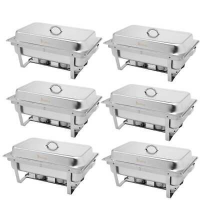 Pack of 6 Chafing Dishes Set Food Warmers 9L 2 Pans with 12 Fuel Holders