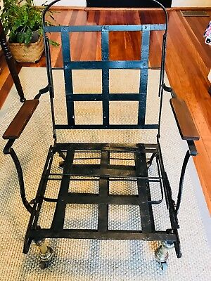 Antique vintage 1800's officer's iron and brass folding campaign chair & bed