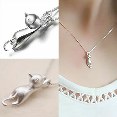 925 Sterling Silver Love Cute Cat Kitty Pendant Necklace Nice Necklace Deco