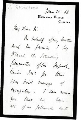 Herbert Gladstone -Home Secretary -Governor South Africa -1898 ALS: father death