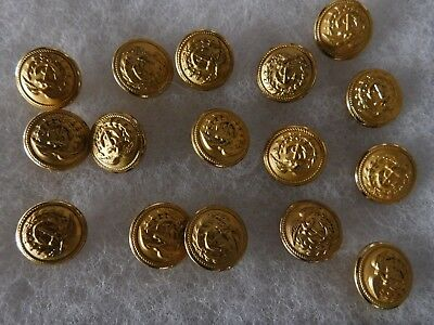 16 Wwii Coast Guard  Uniform  Buttons Measures 7/8 Inch Across