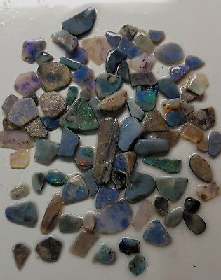 360 cts AUSTRALIAN OPAL ROUGH RUBBED 70+pc multicoloured. great potential. #3