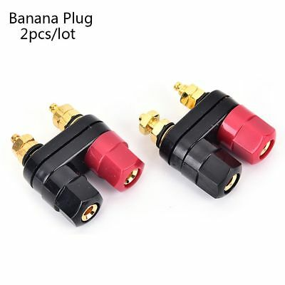 Red Black Copper Binding Post Amplifier Terminal Banana Plugs Speaker Connector