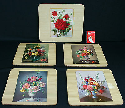Vintage Placemats Roses Flowers Kitsch x 5 Retro 50s 60s 1 Lge 4 Small Wood Cork