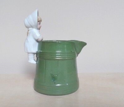 Antique Continental  Green Fairing Jug With White Girl Handle