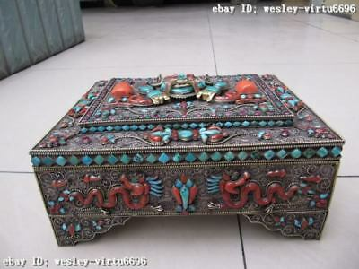 Nepal Silver inlay turquoise coral ruby beryl jewel box