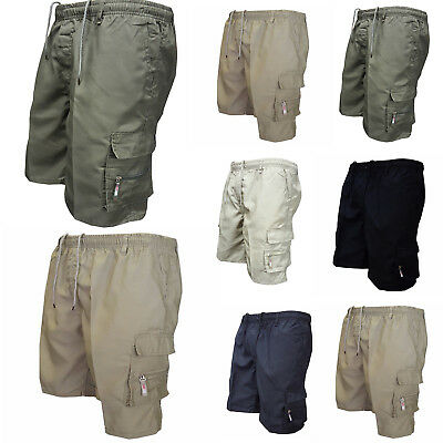 Mens Elastic Waist Shorts Cargo Combat Casual Summer Holiday Beach Plain Pants