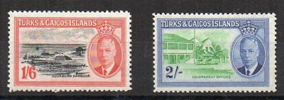 Turks and Caicos Islands 1950 1s 6d and 2s MH