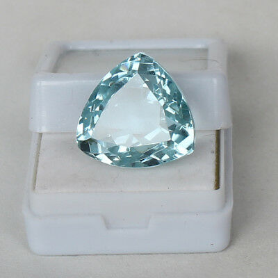 19.85 Ct Natural Aquamarine Greenish Blue Color Trillion Cut Loose Certified Gem