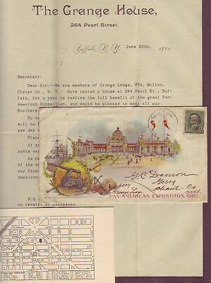 PAN-AMERICAN EXPOSITION Illustrated Cover w Related 1901 LETTER & MORE