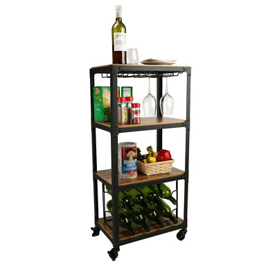Bar Cart Wine Rack Snacks Holder Wood Metal Home Liquor Storage Display Elegant