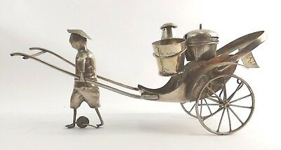Large Novelty Condiment Set Silver Rickshaw Made in Antique China c 1900
