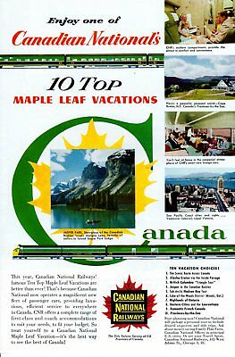 Vintage print ad Train 1955 Canadian National Railways Top Maple Leaf Vacations