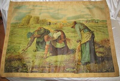 "Antique Tapestry Art on Canvas "" Gleaners "" by Jean Francis Millet"