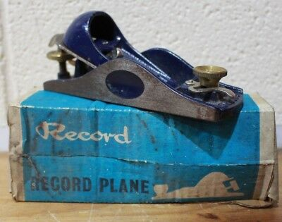 RECORD 9 1/2 Low Angle Block Wood Plane with Adjustable Mouth BOXED - 254