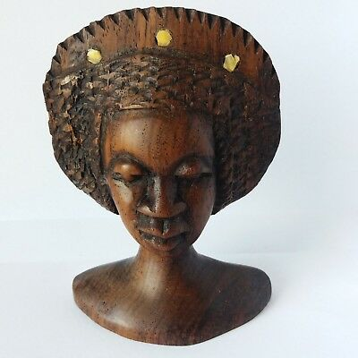 Vintage Rare African Woman Princess Handmade Wood Carved Beauty Headdress Figure