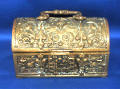 A rare Victorian brass gothic, Art Nouveau, treasure chest style casket