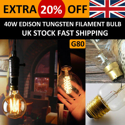 Vintage Filament Edison G80 Globe Bulbs Dimmable E27 B22 Industrial Incandescent