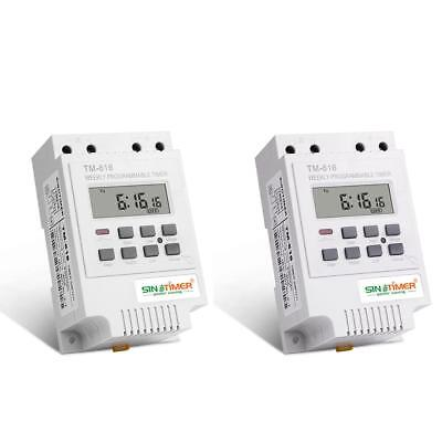 TM-616 Electronic Weekly Programmable Digital Timer Switch Relay Din Rail Mount