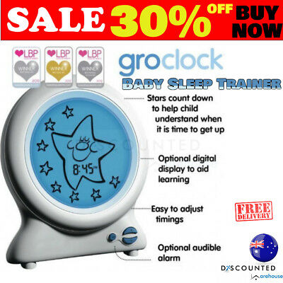 Baby Clock Sleep Trainer Night Light Bedtime Storybook Moon Star Glowing Screen