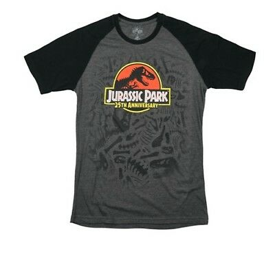 Jurassic Park 25th Anniversary Adult 2XL Charcoal Graphic Athletic Fit T-Shirt