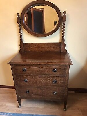Antique dressing table solid oak and 3 Drawer Chest