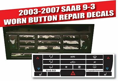 2003-07 Saab 9-3 9-5 A/c Climate Control Button Repair Decals 1281688Ba