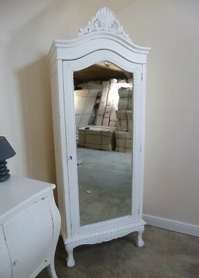 French Single Armoire Wardrobe In White - Shabby Chic Style