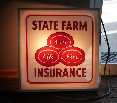 State Farm Light  Sign Vintage advertising 24 inches Metal frame Auto life Fire