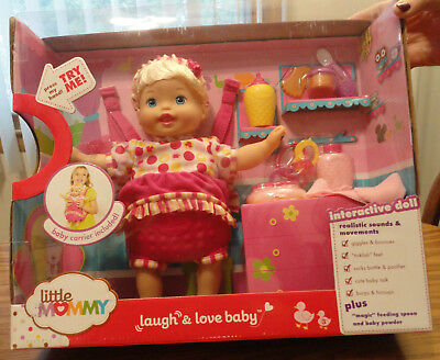 NEW Little Mommy Laugh & Love Baby Doll Carrier Giggles Bounces Interactive NIB