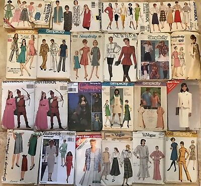 Lot of 78 Vintage Sewing Patterns Butterick Simplicity & Vogue 60s 70s 80s 90s