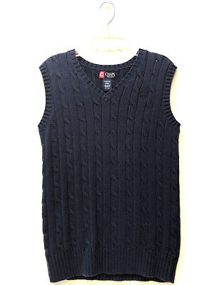 CHAPS Youth Boy Cable Knit Vest Sleeveless Sweater Size L 14-16 New Blue