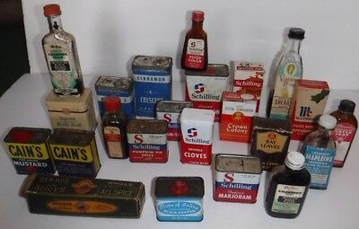 Vtg Lot of 23 Spice Tins Bottles Box Crescent Pride of India Cains Virginia Dare