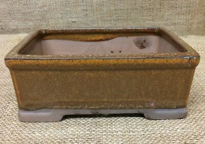 16cm Orange Glazed Rectangular Bonsai Pot