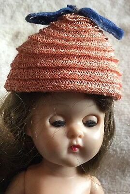 Vintage 50s Woven Doll Hat w Blue Bow~Jill Ginny Vogue Muffie Ginger Alex