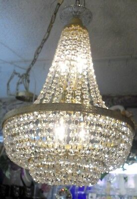 "Antique Czechoslovakian Brass and Crystal Empire 6 Bulb Chandelier 26"" Tall"