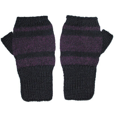 100% Alpaca Wool Fingerless Mittens Black Purple Medium ~ Women Men Accessory