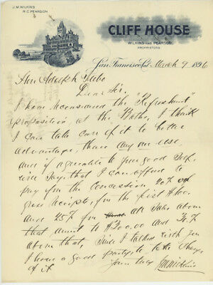 Letter to Adolph Sutro 1896 from Wilkins  -  Refreshment Proposition for Baths