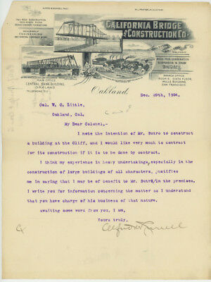 Letter to Adolph Sutro 1894 from California Bridge & Construction - Proposal