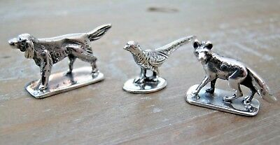 Beautiful Trio Of Sterling Silver Hunting Miniatures - Pheasant - Fox - Pointer