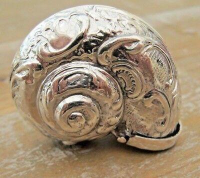 A Detailed Novelty Nautilus Conch Shell Sterling Silver Snuff Box or Vesta Case