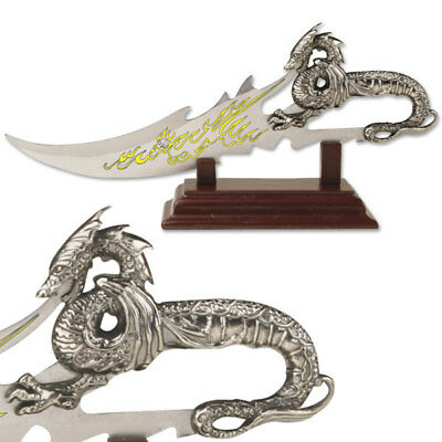 Fire Breathing Dragon Letter Opener Knife with Wooden Desk Display Stand NIB