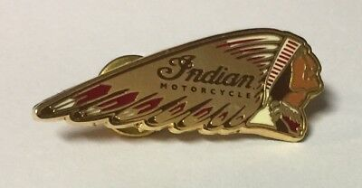 "Indian Motorcycle ""warbonnet"" Pin 1 1/2"" Pinch Clips ~ Enameled Face"