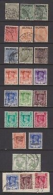 Burma George V to George VI Earlier Overprinted Indian Stamps 2 Perfin Stamps