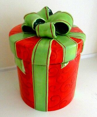 """Christmas Gift Theme Kitchen Canister Cookie Jar  10""""h, 7""""w"""