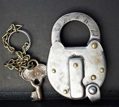 "Antique Solid Steel Padlock "" THE YALE & TOWNE MFG. CO.  RAILROAD?? "" w/ Key"