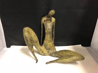 "Gloria Elies Signed Bronze Sculpture ""seated Figure"" 1979 - Canadian"