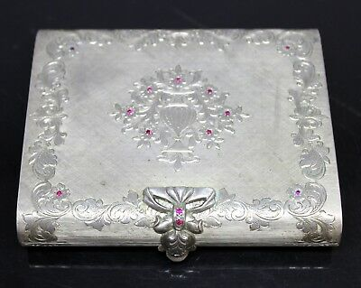 Rare Antique Cassetti Renzo Italy Minaudiere Compact 800 Silver Case 13 Rubies