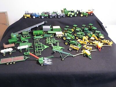 Huge Lot Of 57 Tractors & Farm Implements - 1/64Th Scale - Toys